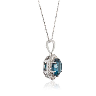 Blue Topaz & Diamond Hexagon Halo Necklace 14K