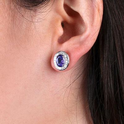 Tanzanite & Baguette Diamond Earrings 14K