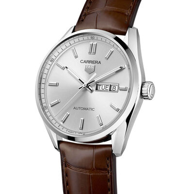TAG Heuer Carrera Calibre 5 Auto Silver Leather Watch, 41mm