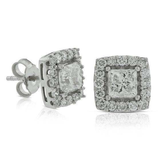 Diamond Halo Earrings 2 ctw, 14K