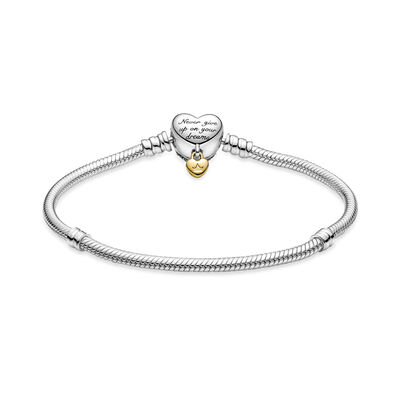 Pandora Moments Disney Heart Clasp CZ Snake Chain Bracelet