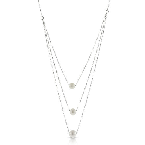 Freshwater Cultured Pearl Graduated Necklace 14K