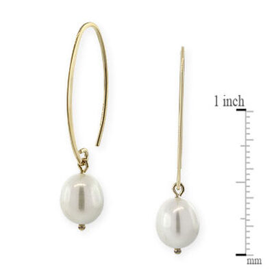 Freshwater Cultured Pearl Drop Oval Wire Earrings 14K