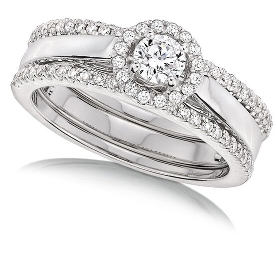 Double Band Diamond Bridal Set 14K
