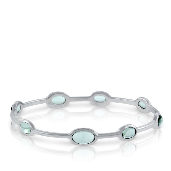 Lisa Bridge Green Quartz Station Bangle Bracelet