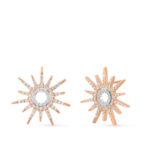 Rose Gold Roberto Coin Tiny Treasures Diamond Sun Earrings 18K