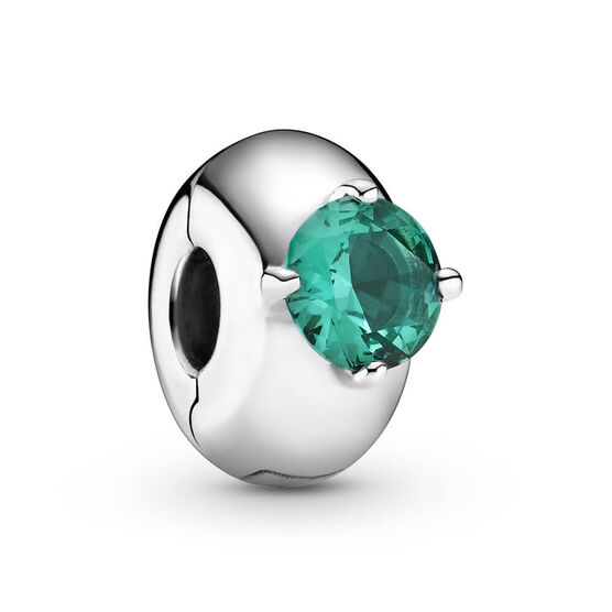 Pandora Green Round Solitaire Crystal Clip Charm
