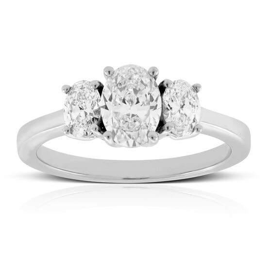 Oval Cut 3-Stone Diamond Engagement Ring 14K