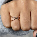 Rose Gold Crossover Ring 14K