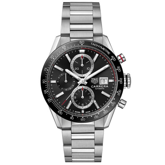 TAG Heuer Carrera Calibre 16 Black Steel Chronograph Watch, 41mm