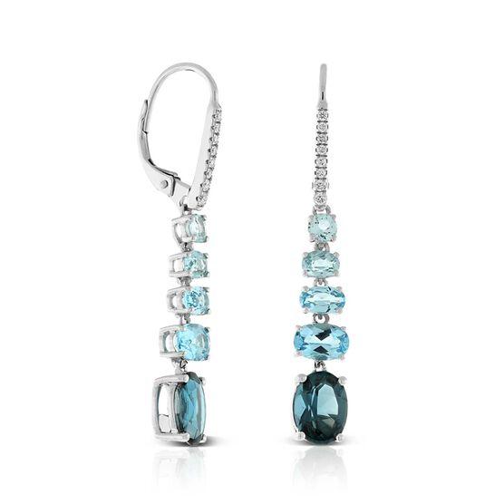Graduated Color Blue Topaz & Diamond Earrings 14K