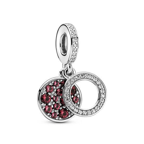 Pandora Sparkling Red Disc CZ Double Dangle Charm