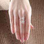 Diamond Flower Bypass Ring 14K