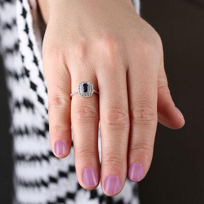 Sapphire & Diamond Double Halo Ring 14K