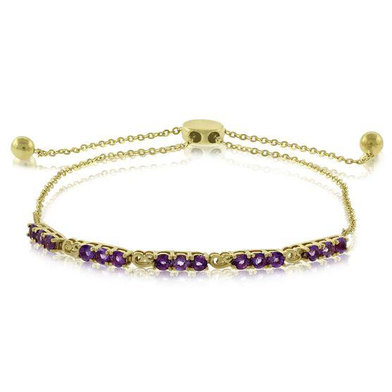 Amethyst Bolo Bracelet 14K