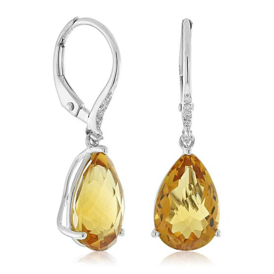 Pear Shaped Citrine & Diamond Earrings 14K