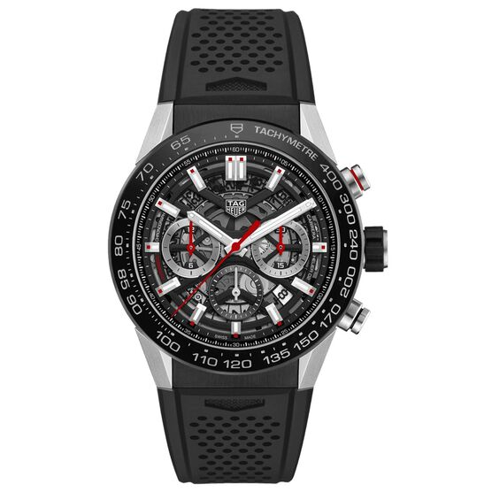 TAG Heuer Carrera Heuer 02 Automatic Mens Black Rubber Chronograph Watch