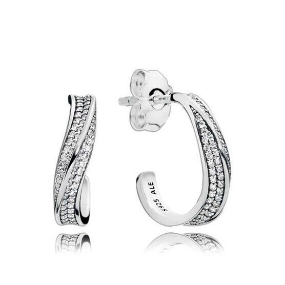PANDORA Elegant Waves CZ Hoop Earrings