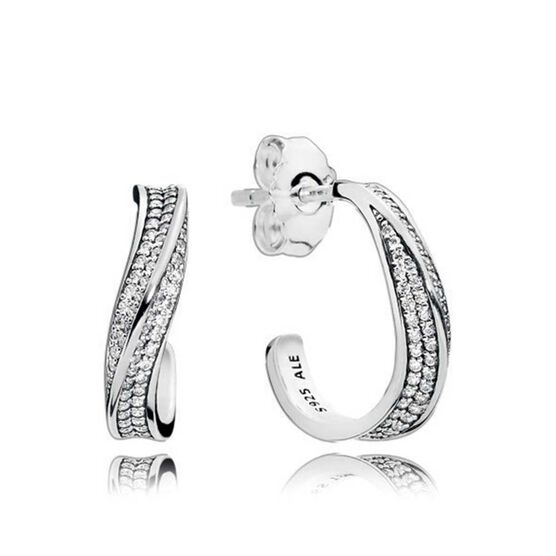 PANDORA Elegant Waves CZ Hoop Earrings