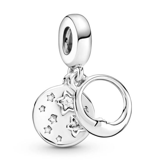 Pandora Sleeping Moon and Stars CZ Dangle Charm