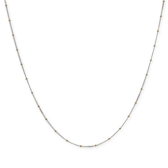 """Flat Curb Chain with Bead Stations 14K, 18"""""""