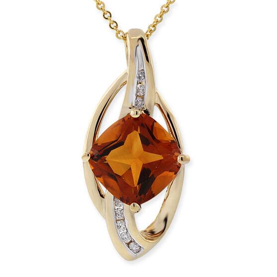 Madeira Citrine & Diamond Pendant 14K