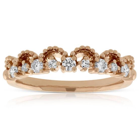 Rose Gold Scalloped Stacking Diamond Band 14K