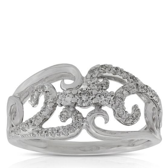 Diamond Scroll Ring 14K