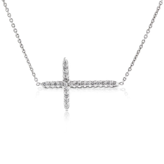 Roberto Coin Tiny Treasures Sideways Cross Necklace 18K