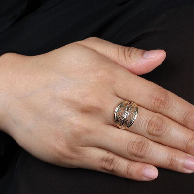 Toscano Leaf Motif Ring 14K
