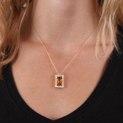 Rectangular Citrine & Diamond Necklace 14K
