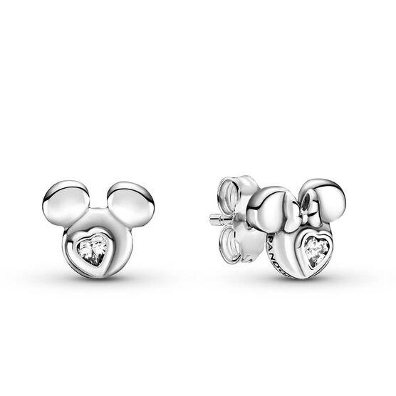 Pandora Disney Mickey Mouse & Minnie Mouse Silhouette CZ Stud Earrings