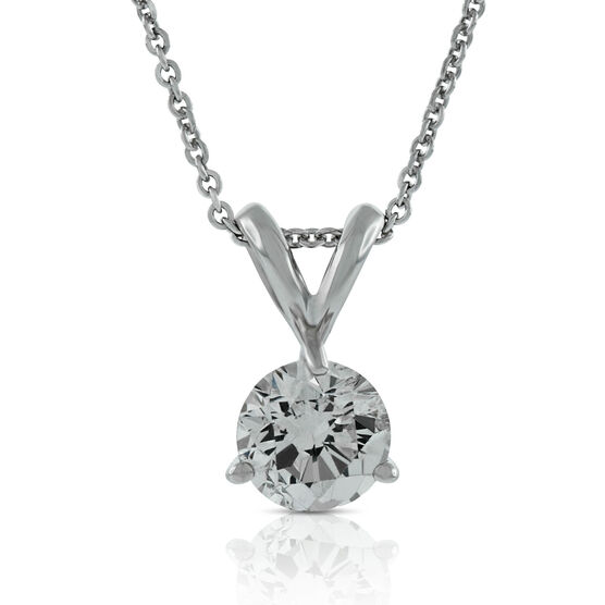 Diamond Solitaire Pendant 14K, 1/3 ct.