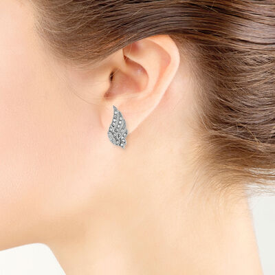 White Topaz Wing Earrings 14K