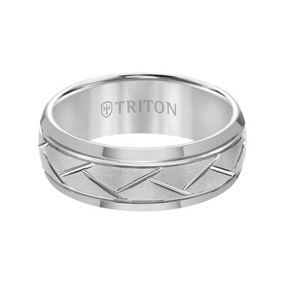 TRITON Contemporary Comfort Fit Diagonal Cut Band in Grey Tungsten, 8 mm