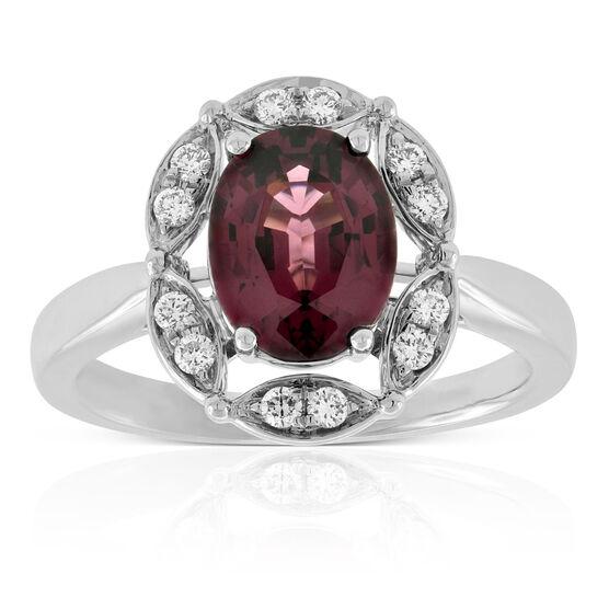 Rhodolite Garnet & Diamond Ring 14K