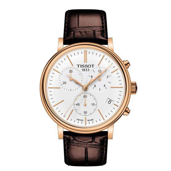 Tissot Carson Premium Chronograph Rose PVD White Dial Watch, 41mm