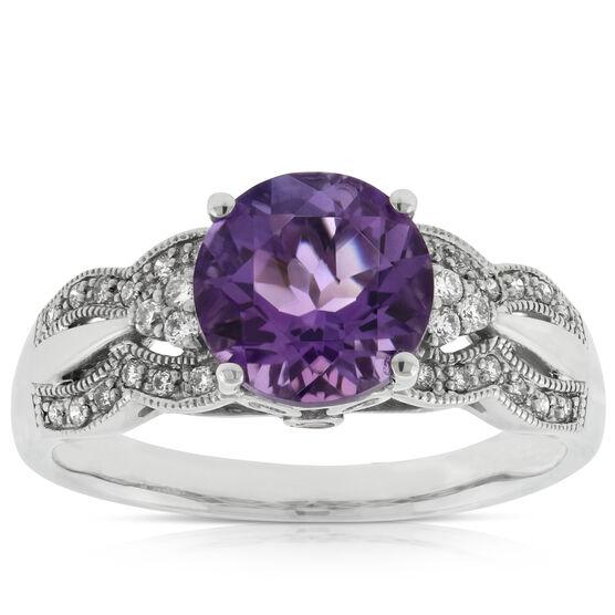 Amethyst, Diamond & Tourmaline Ring 14K