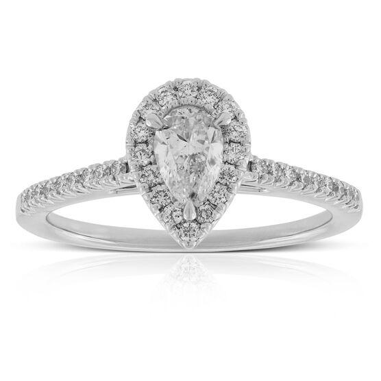 Pear Shape Diamond Halo Engagement Ring 14K