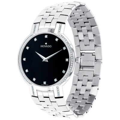 Movado Faceto Black Dial Diamond Watch, 38mm