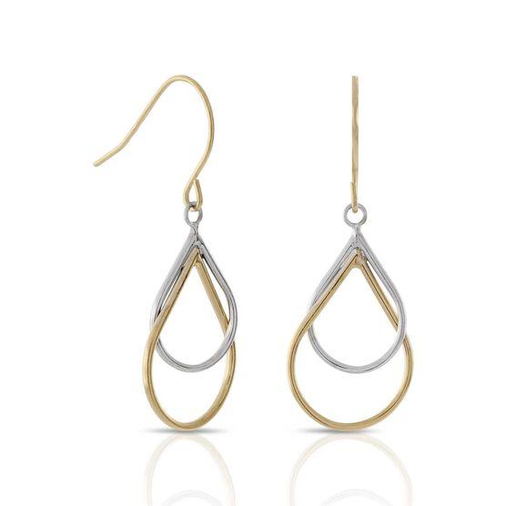 Double Pear Dangle Earrings 14K