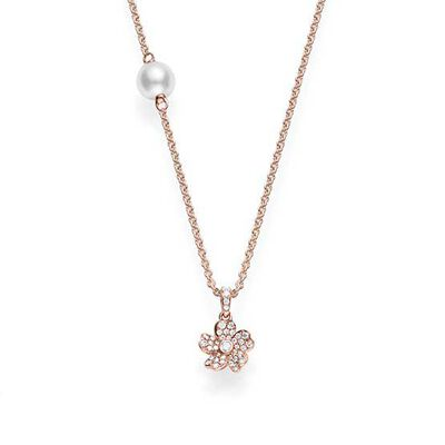 Rose Gold Mikimoto Akoya Cultured Pearl & Diamond Cherry Blossom Necklace 18K