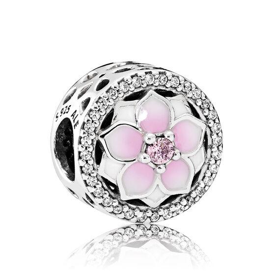Pandora Magnolia Bloom Enamel & CZ Charm