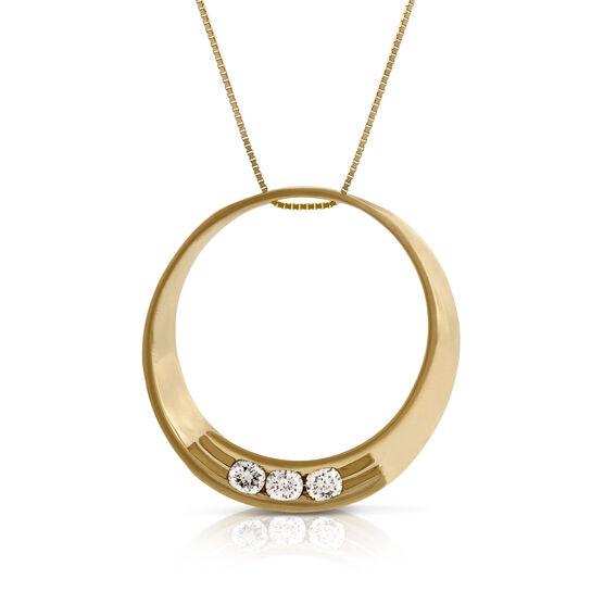 Three Stone Diamond Circle Pendant 14K