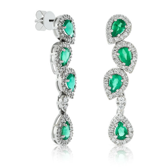 Pear Emerald & Diamond Cascade Earrings 14K