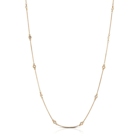 Rose Gold Bezel Set 12-Station Diamond Necklace 14K