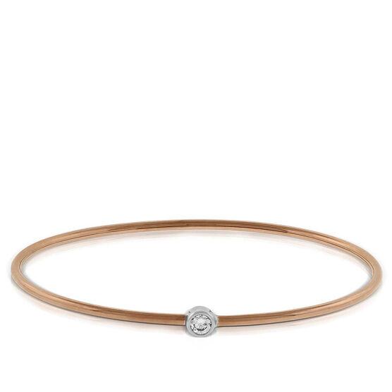 Rose & White Gold Diamond Bangle Bracelet 18K