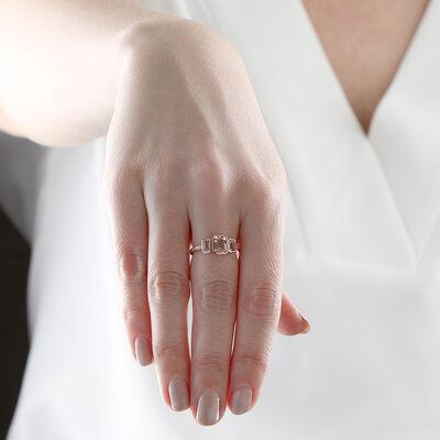 Rose Gold Morganite, White Topaz & Diamond Ring 14K
