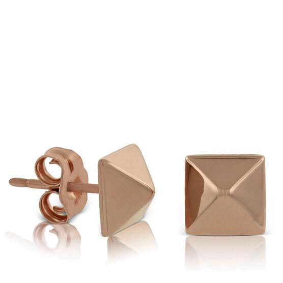 Rose Gold Pyramid Earring 14K