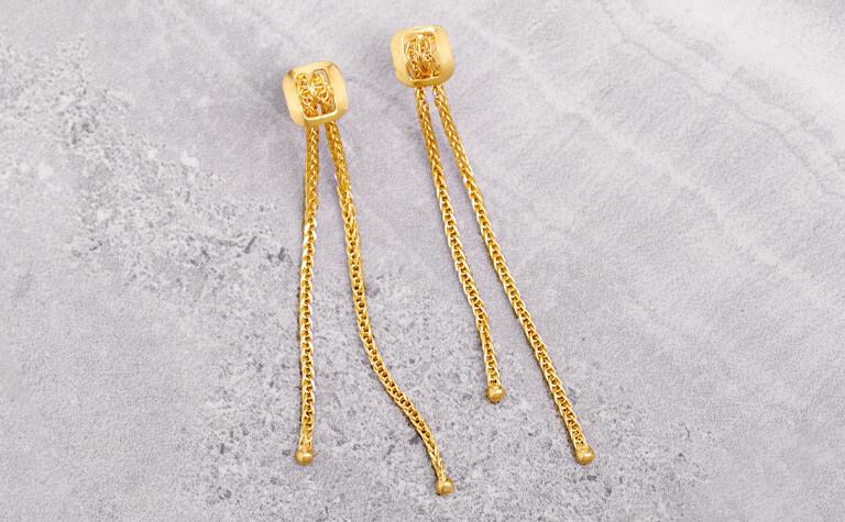 Wheat Tassel Gold Earrings   11835519
